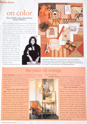 Suzanne Kasler, Atlanta interior designer, talks with Travis Neighbor Ward about using the color orange in the home